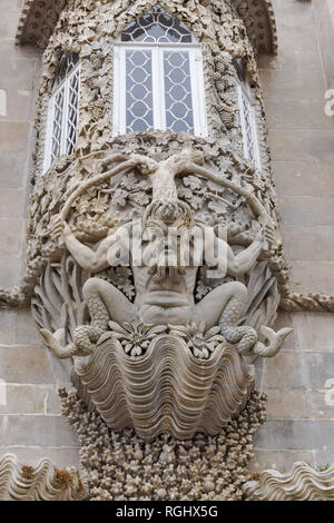 The depiction of a mythological triton, ornamental sculpture at the Pena National Palace in Sintra, Portugal - Stock Image