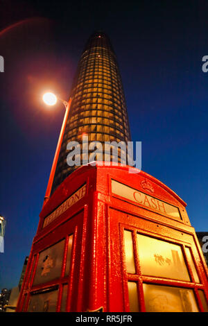 Red telephone box and Skyscraper building, Southwark, London, England, UK - Stock Image