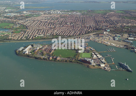 Aerial view of Whale Island in Portmouth Harbour, home of the Royal Navy's training establishment HMS Excellent - Stock Image