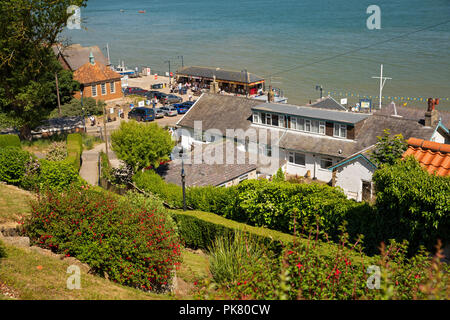 UK, England, Yorkshire, Filey, view down to Coble Landing and seafront from Queen Street - Stock Image