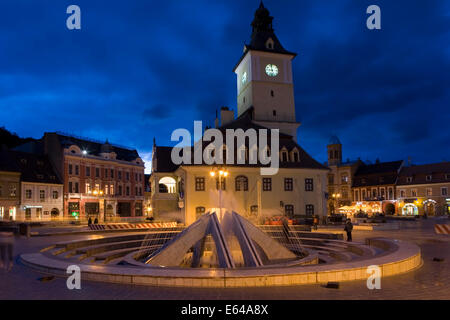 Council House & Trumpeters Tower and fountain in Priata Sfatului. Houses the historical museum - Stock Image