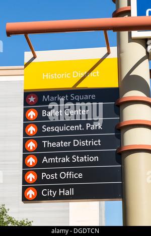Historic District signs downtown Houston Texas USA - Stock Image