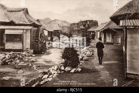 Japan-British Exhibition - White City, Reconstructed Village with watermill. - Stock Image