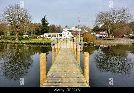 View from the boat jetty, of The Wateredge Inn,Borrans Rd, Ambleside,Lake District,Cumbria,England,UK - Stock Image