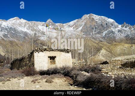 Ancient Tibetan house near Syangbochen, Upper Mustang region, Nepal. - Stock Image