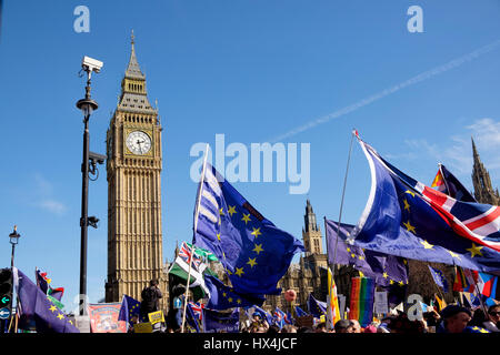London, UK. 25th Mar, 2017. Protesters in the Unite for Europe march demonstrate on the streets of Westminster, - Stock Image
