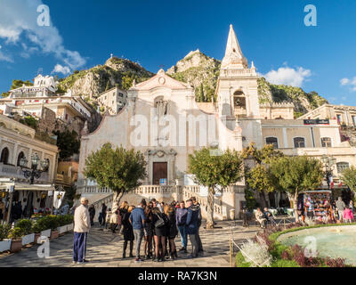 The Baroque Church of San Giuseppe (St. Joseph) in the town of Taormina, Province of Messina, Sicily, Italy - Stock Image