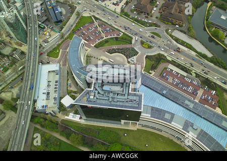 Aerial view of the GlaxoSmithKline Headquarters, GSK House, which is next to the Great West Road and M4 in Brentford - Stock Image