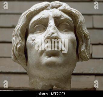 Roman art. Head of Isis priestess. From the Oriental Necropolis of Merida, 1st century AD. National Museum of Roman Art. Merida, Badajoz province, Extremadura, Spain. - Stock Image