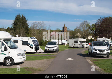 Camping and Caravan Club site, Moffat, Dumfries and Galloway, Scotland, UK - Stock Image