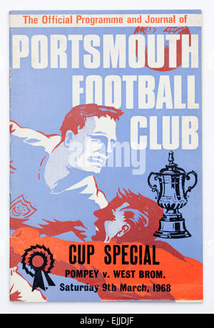 Vintage !960's Football Programme FA Cup Match Portsmouth v West Brom - Stock Image