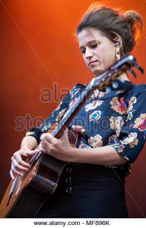 Selah Sue performing live at the first edition of MUSILAC Mont-Blanc music festival in Chamonix (France) - 21 April 2018 - Stock Image