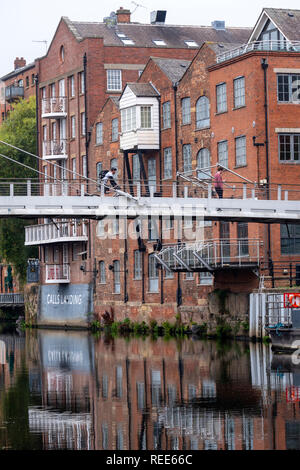 Calls Landing Riverside houses converted into city centre apartments Leeds West Yorkshire England - Stock Image