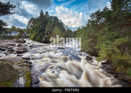 The Falls of Dochart in the village of Killin, Stirling, in central Scotland. - Stock Image