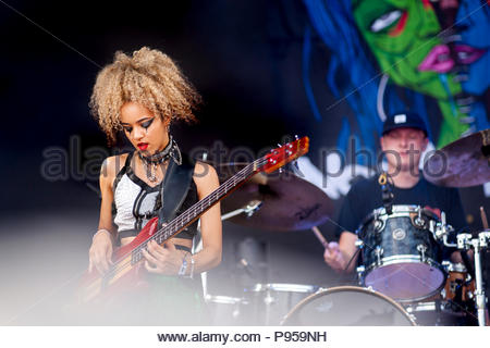 Aix-les-Bains, France . 14th July 2018.  Aix-les-Bains, France. 14th July 2018. Nova Twins performing live at Musilac festival in Aix-les-Bains (France) - 14 July 2018 Credit: Olivier Parent/Alamy Live News Credit: Olivier Parent/Alamy Live News - Stock Image