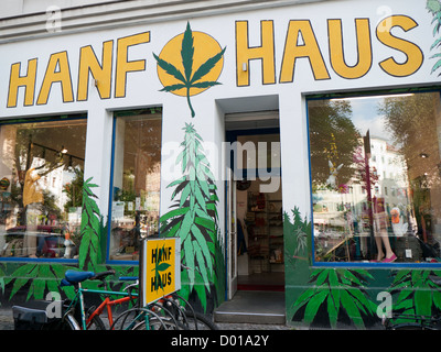 Hanf Haus a shop selling products made from hemp in Berlin Germany - Stock Image