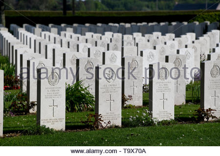 Bayeux War Cemetery in Normandy, France. It is the largest Second World War cemetery of Commonwealth soldiers in France with 4144 burials - Stock Image