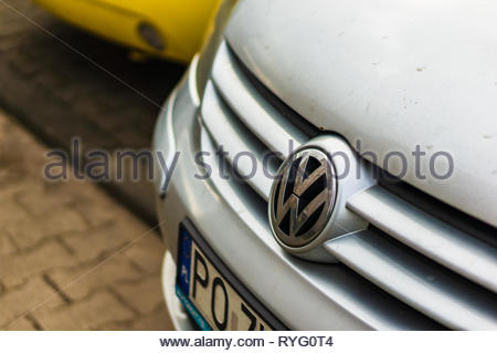 Poznan, Poland - February 24, 2019: Close up of Volkswagen Golf with logo and air dam. - Stock Image
