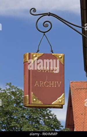 Wrought-iron hanging shop sign, city archive, Wangen, Allgäu, Baden-Württemberg, Germany - Stock Image