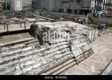 The Remains of Tenochtitlan, Ancient City of the Aztecs, Zocalo Square, Plaza de la Constitucion, Mexico City, Mexico - Stock Image