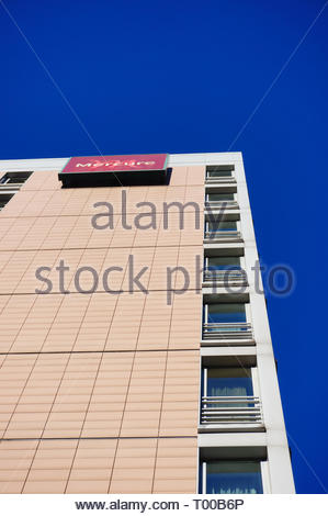 Poznan, Poland - October 31, 2018: Mercure Hotel building from low perspective in the city center. - Stock Image
