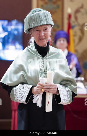 British primatologist Jane Goodall at the ceremony awarding her an honorary degree from Complutense University of Madrid, Spain  Featuring: Jane Goodall Where: Madrid, Spain When: 15 Dec 2018 Credit: Oscar Gonzalez/WENN.com - Stock Image