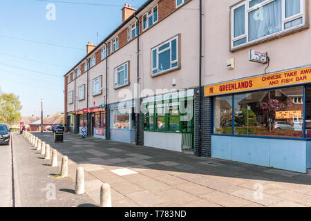 Shops on Greenlands Estate in Redditch, Worcestershire. - Stock Image
