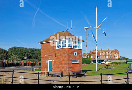 A view of the Maritime Museum and National Coastwatch Station on the seafront at Mundesley, Norfolk, England, United Kingdom, Europe. - Stock Image