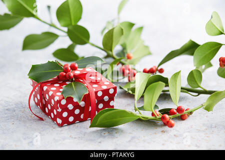 Christmas present wrapped with polka dot paper, and decorated with holly berries. Gift wrapped in polka dot paper with decorative red ribbon. - Stock Image