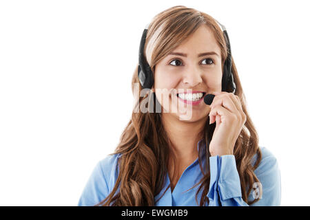Stock image of female call center operator isolated on white - Stock Image