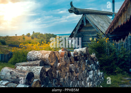 A close-up of a hut of logs on the river bank - Stock Image