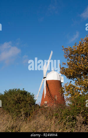 Halnaker windmill, West Sussex, UK. South Downs National Park. November. restored with sails. - Stock Image