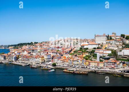 View of The Ribiera, Porto from Vila Nova de Gaia, Portugal. - Stock Image