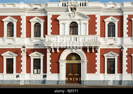 Colonial style facade of the city hall  (Municipalidad) building in Trujillo, Peru - Stock Image