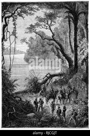 Gonzalo Pizarro and his men arrive at the Rio Negro, a tributary of the Amazon river. - Stock Image