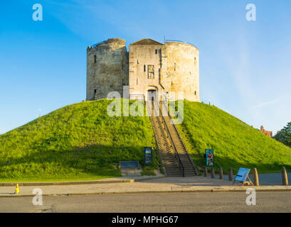 The 13th Century Clifford's Tower, the largest surviving part of York Castle - Stock Image