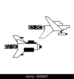 Videogame pixelated spaceship flying isolated - Stock Image
