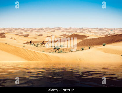 Mirage of the water in the Arabian desert. Background image digital enhancement. Camels in background - Stock Image