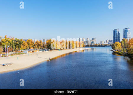 autumn landscape city beach for rest Hydropark on the river of the Dnieper in Kiev - Stock Image