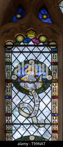 Stained glass window of Prophet Isaiah in church of Saint Margaret, South Elmham, Suffolk, England, UK c 1917 - Stock Image