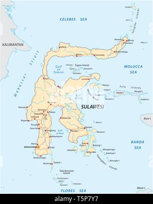 vector roads map of indonesian island sulawesi - Stock Image
