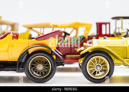 Matchbox Models of Yesteryear cars. Side view. - Stock Image
