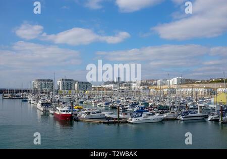 Brighton Marina Views UK - Yachts moored in the marina - Stock Image