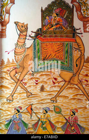 A contemporary mural in the Krishna Prakash Havelli in Jodhpur, Rajasthan, India - Stock Image