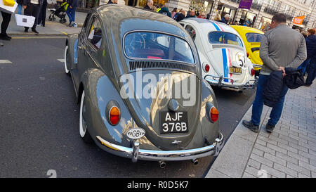 Regent Street, London 3 November 2018 - A collection of Beetles, included the real 'Herbie' from Disney's 1968 film on display to mark Beetle's 80th birthday at the Motor Show on Regent Street. London's premier shopping destination was transformed into the country's biggest free-to-view motor show as Regent street was pedestrianised for the day's event on 3 November. The show included electric cars, to vintage and classic cars and attracted more than 500,000 visitors. Credit: David Mbiyu /Alamy Live News - Stock Image