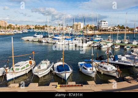 View of Portixol harbour and marina, Palma, Palma de Mallorca, Mallorca, Majorca, Balearic Islands, Balearics, Spain, Europe - Stock Image