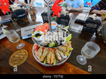 Seafood Platter served on board the Prawn Star, a popular trawler bar and restaurant, Cairns, Far North Queensland, FNQ, QLD, Australia - Stock Image