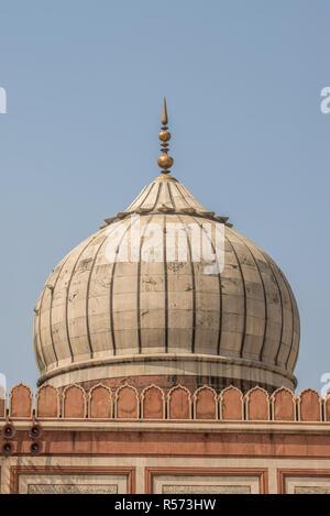 Main dome of the Jama Masjid mosque, Old Delhi, India - Stock Image