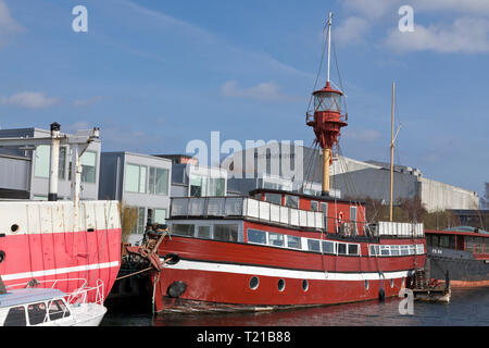 Old lightvessel, Refshaleøen, Copenhagen, Denmark. A new neighbourhood of street restaurants, culture and sport facilities in old shipyard district. - Stock Image