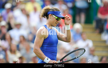 Eastbourne UK 25th June 2019 - Sam Stosur of Australia in action against Angelique Kerber of Germany at the Nature Valley International tennis tournament held at Devonshire Park in Eastbourne . Credit : Simon Dack - Stock Image